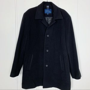 Cole Haan Black Peacoat Jacket Wool Cashmere Blend